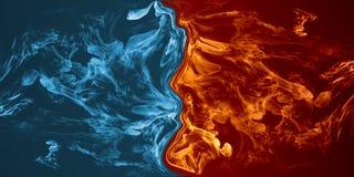 Abstrakta lodu i ogienia element vs przeciw each innemu tłu ilustracja wektor