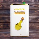 Abstrakta Logo Olive Oil Extra Virgin Metal kan framförande 3d stock illustrationer