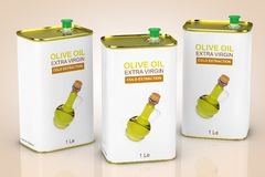 Abstrakta Logo Olive Oil Extra Virgin Metal kan framförande 3d vektor illustrationer