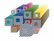 Abstrakta mångfärgade schackkuber Fotografering för Bildbyråer