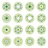 Abstrakta mallar för runda former för ecoteknologilogo Royaltyfria Foton