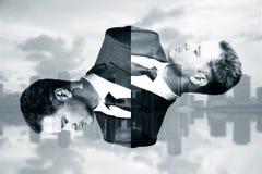 Abstrakta manstående på stadsbakgrund stock illustrationer
