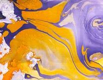 Abstrakta marmuru ręka malujący tło w sztuka współczesna stylu z rzadkopłynnym spływanie atramentem i akrylową obraz techniką Zdjęcie Stock
