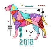 Abstrakta Memphis Style Placard med hunden för design för nytt år 2018 Moderiktig bakgrund för geometriska former royaltyfri illustrationer