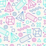 Abstrakta Memphis Style Seamless Pattern med geometriska former royaltyfri illustrationer