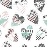 Abstrakta Memphis Style Seamless Pattern med hjärtor Lycklig valentindagbakgrund för tygtextilWarpping papper Arkivbilder