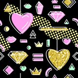 Abstrakta Memphis Style Seamless Pattern med rosa och guld- hjärtor lyckliga valentiner för bakgrundsdag Arkivbilder