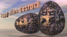 Abstrakta metalliska futuristiska påskägg Vektor Illustrationer