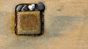 Abstrakta metallstenar och trä Royaltyfri Foto