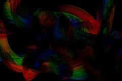 Abstrakta modeller på mörk bakgrund med regnbågelinjer buktar partiklar arkivbild