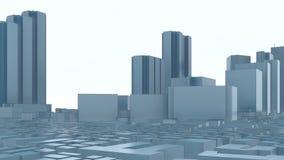 Abstrakta moderna Tokyo för stad 3D skyskrapor 4K stock illustrationer