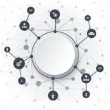 Abstrakta molekylar och kommunikationsteknologi Arkivfoto
