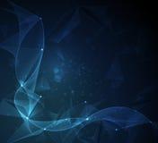 Abstrakta molekylar och Wireframe kopplar ihop med linjer, geometriskt som är polygonal, triangelmodell Royaltyfri Fotografi