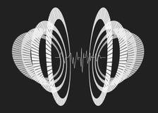 Abstrakta monochromu częstotliwi okręgi w perspektywie Zdjęcia Stock