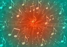 Abstrakta musikanmärkningar spränger i oskarp röd och grön bakgrund royaltyfri illustrationer