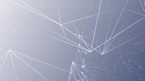 Abstrakta nätverksvitprickar förband på ny blå vit bakgrund arkivfilmer