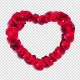 Abstrakta naturliga Rose Petals Heart på genomskinlig bakgrund Rea stock illustrationer