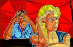 Abstrakta olyckliga par för geometrisk design vektor illustrationer