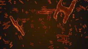 Abstrakta orange virusceller under mikroskopet stock video