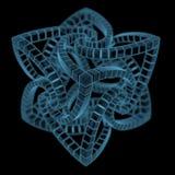 Abstrakta ordnade kubprydnader (genomskinliga blått för röntgenstrålen 3D) Arkivbilder
