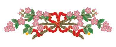 Abstrakta orientaliska bandbaner blommar kransfilialillustrationen vektor illustrationer