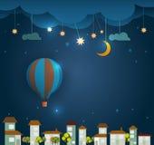 Abstrakta papierowy gorący lotniczy balon, chmura, niebo i księżyc z gwiazdami przy nocą, Pusta przestrzeń dla twój projekta Fotografia Royalty Free
