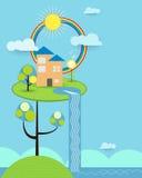 Abstrakta papieru cięcie, dom, słońce, chmura, niebo i tęcza, Zdjęcia Stock