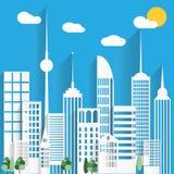 Abstrakta pappers- vita skyskrapor också vektor för coreldrawillustration Royaltyfria Bilder