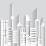Abstrakta pappers- vita skyskrapor på vit bakgrund också vektor för coreldrawillustration Arkivfoton