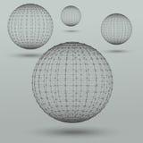 Abstrakta polygonal sfärer royaltyfri illustrationer