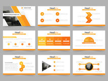 Abstrakta presentationsmallar för apelsin, uppsättning för design för lägenhet för Infographic beståndsdelmall för broschyr för å Royaltyfri Bild