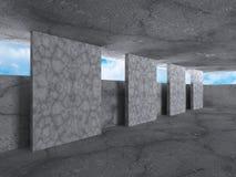 Abstrakta pusty betonowy wnętrze niebieski tła architekturę kompasowy głębokie rysunek Zdjęcia Stock