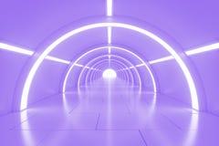 Abstrakta pusty olśniewający tunel z światłem w końcówce ilustracja 3 d Fotografia Stock