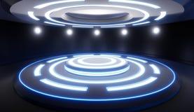 Abstrakta pusty studio z piedestałem i błękitnym oświetleniem Futuristi Zdjęcie Royalty Free