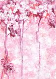 Abstrakta różowy tło inspirujący kwitnącymi drzewami Obrazy Royalty Free