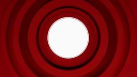 Abstrakta röda cirklar, ögla för animering 3d arkivfilmer