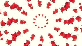 Abstrakta röda flygahjärtor på vit stock illustrationer