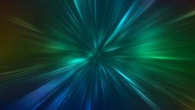 Abstrakta radiella zoomlinjer Gröna och blåa kontraststrålljus vinkar bristning på mörk bakgrund royaltyfri illustrationer