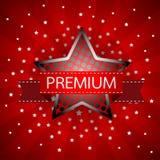 Abstrakta rocznika Gwiazdowa czerwona retro etykietka na sunray tła vecto Fotografia Royalty Free