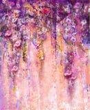 Abstrakta rosa färg- och violetfärgblommor, vattenfärgmålning han Royaltyfri Foto