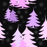 Abstrakta rosa färg- och violetgranträd med silvergrå färgstjärnor på svart Royaltyfria Foton