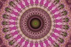 abstrakta rosa färger med den gröna prydnaden (mandala, kalejdoskopet) vektor illustrationer