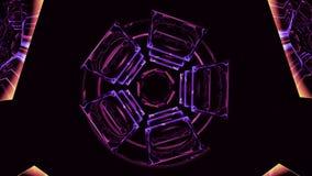 Abstrakta roterande stycken i lilafärg stock video