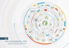 Abstrakta save środowiskowy tło Digital łączy system z zintegrowanymi okręgami, koloru mieszkania ikony Fotografia Stock