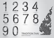 Abstrakta setu liczba robić od kreskowego tajlandzkiego sztuka wzoru ilustracja wektor
