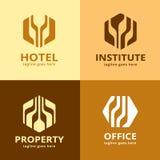 Abstrakta sexhörniga Logo Template Design Vector Royaltyfri Illustrationer