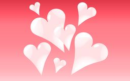 Abstrakta skinande härliga färgrika ljusa brokiga festliga hjärtor för rosa färger på en rosa lutningbakgrund och ställe för en e stock illustrationer