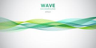 Abstrakta släta linjer för gröna vågor planlägger på vit bakgrund royaltyfri illustrationer