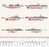 Abstrakta stadshorisonter för vektor av Singapore, Kuala Lumpur, Shanghai, Hong Kong, Tokyo och Seoul Arkivbilder
