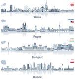 Abstrakta stadshorisonter för vektor av Wien, Prague, Budapest Royaltyfri Foto